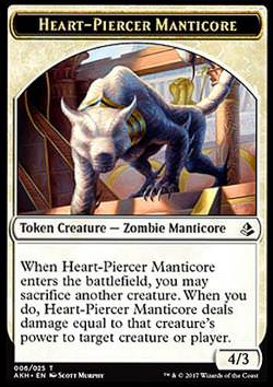 Token: Heart-Piercer Manticore (White 4/3)