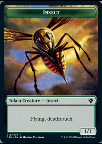 Token: Insect (G 1/1 Flying, Deathtouch) // Spirit (W 1/1)